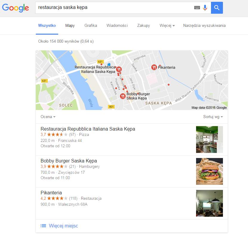 Grafika 2: Lokalne biznesy powinny być widoczne dla każdego użytkownika i zachęcać ich do odwiedzin.